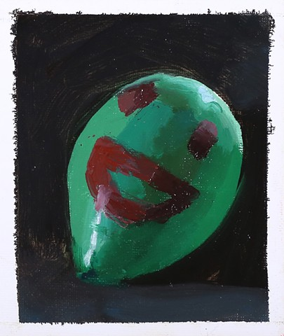 oil painting balloon portrait figurative art green small