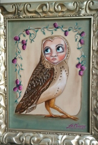 owl bird berries outsider art pop surreal