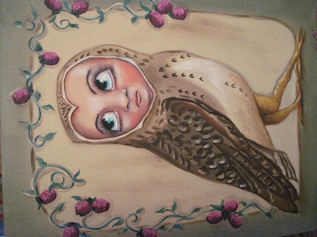 SURREAL OWL BERRY MODERN SCI FI CREATURE CREEPY