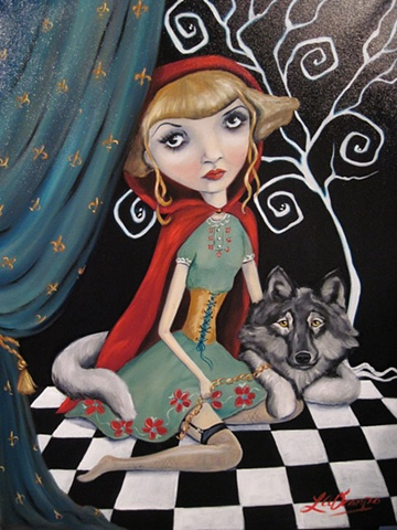 FAIRYTALE, RED RIDING HOOD, WOLF, GOTHIC, PAINTING