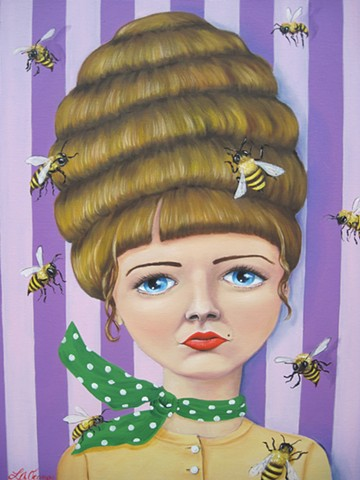 beehive retro vintage creepy pop surreal bee bees purple