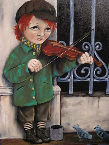 BOY VIOLIN PAINTING GOHTIC MODERN CHILDREN