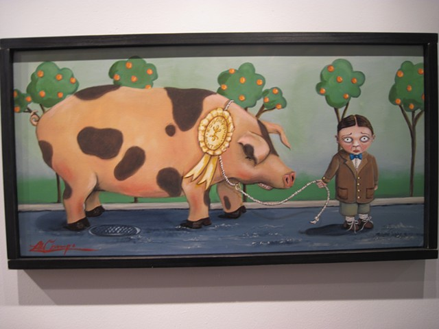 BOY PIG CHILD WHIMSICAL FARM ART PAINTING