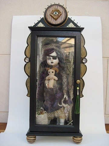 VOODOO STEAMPUNK  DOLL CABINET OF CURIOSITY