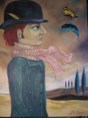 STEAM PUNK POP SURREAL MAN WITH BOWLER HAT