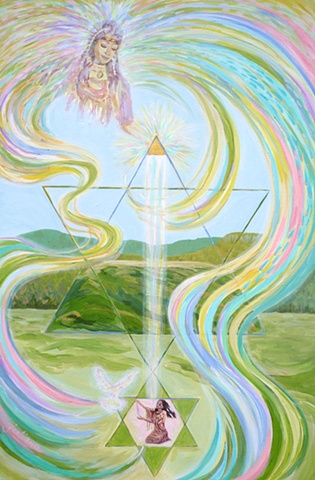 Mysical artwork depicting the Divine Mother blessing the Native American mound