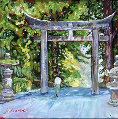 Japanese landscape under an ancient gateway