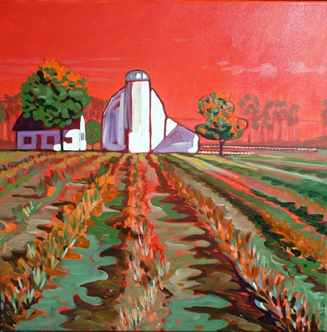American farmland using bold, bright colors