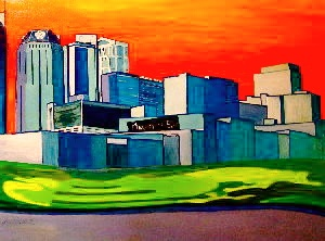 This is a bold, bright painting of Nashville, Tennessee