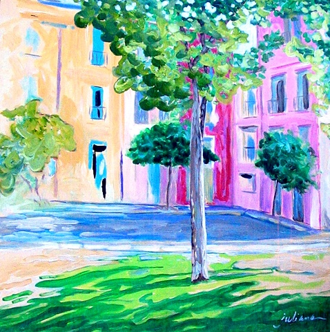 pastel colored contemporary painting of Collioure, Provence