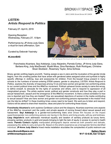 Press Release for LISTEN: Artists Respond to Politics