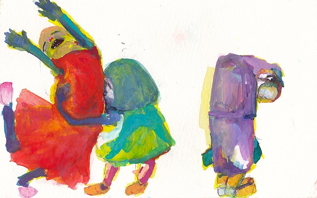 "Kissing The Monster: 2, 2014 gouache and watercolor on paper 5"" x 8"""