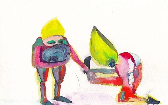 "Gnome Karate, 2014 gouache and watercolor on paper 5"" x 8"""