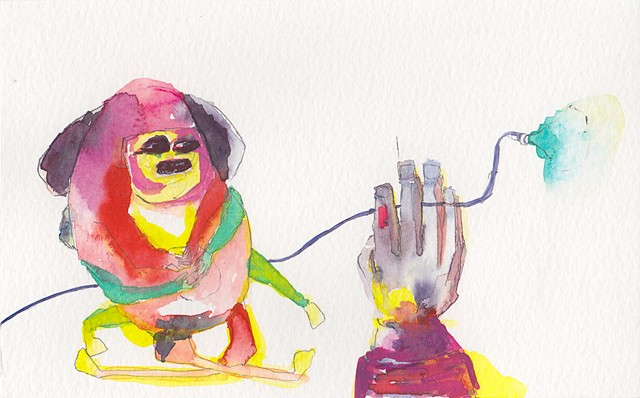 "Hypnotized, 2014 gouache and watercolor on paper 5"" x 8"""