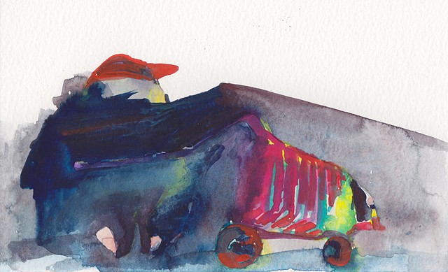 "Shroud (This is Not Your Story), 2014 gouache and watercolor on paper 5"" x 8"""
