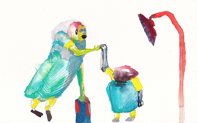 "I Lift You Up, 2014 gouache and watercolor on paper 5"" x 8"""