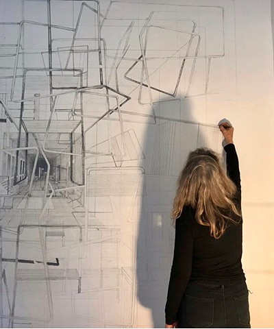 aleph 5-a site specific graphite wall drawing reception