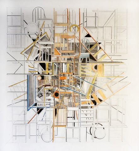 Shelter in place series, a graphite drawing with colored pencil on mylar by Sheila Ghidini.