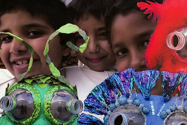 "Qatari Children with the ""Eco-Geckos"""