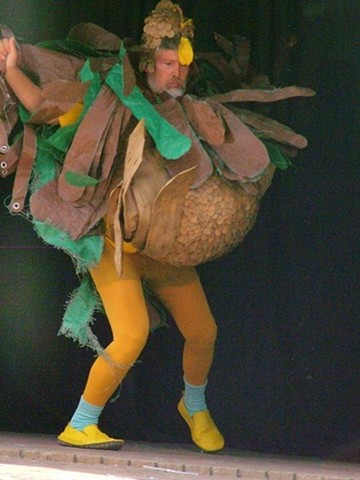 """Chica-Cheeky"" From the 2017 Glam Trash Fashion Show  Worn by Judd Ortney  Chica-Cheeky is no Easter Egger, but a rather stylish fluff  with a May West, big chest, which appeals to those  barnyard masher, sexist pigs and Donald Duckers."