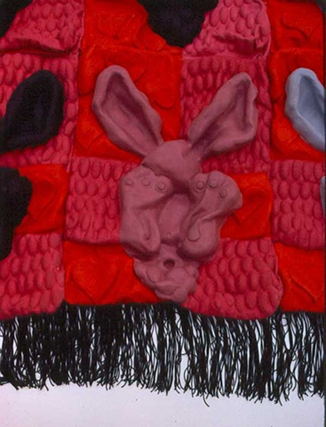 """Rabbits Being Tickled to Death By Ear Mites"", Quilt"
