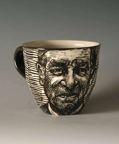 Teacup with Joseph Campbell (from Tea Service for Kings of the Subconscious)