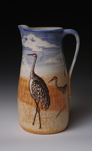Pitcher with Sandhill Cranes