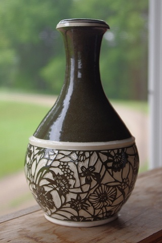 Bottle Vase with Flowers