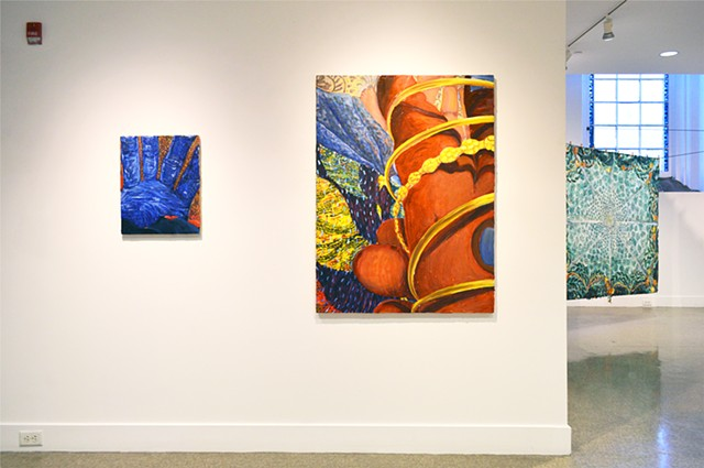 Installation View, Meena Hasan: Covering as much of the sky, Memorial Hall Painting Dept. Gallery, RISD, Providence RI 2019