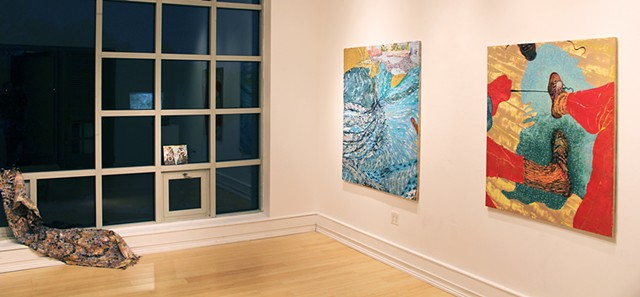 "Installation View, ""Meena Hasan: PoVs"", Mariboe	Gallery, Peddie School, Highstown, NJ. 2017"