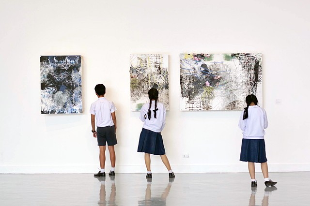Work and Thai visitors at 'Crossing the Dateline' at the Bangkok Art and Culture Center, 2017
