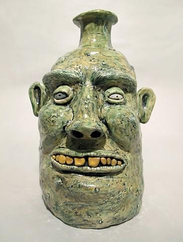 Long Green Face Jug