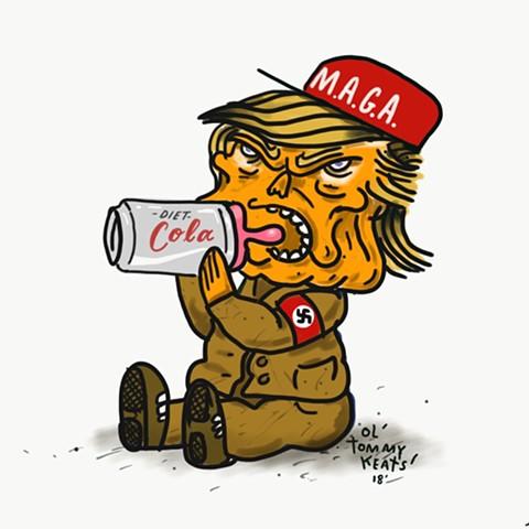 Trump political cartoon illustration Tom Keating oltommykeats nazi