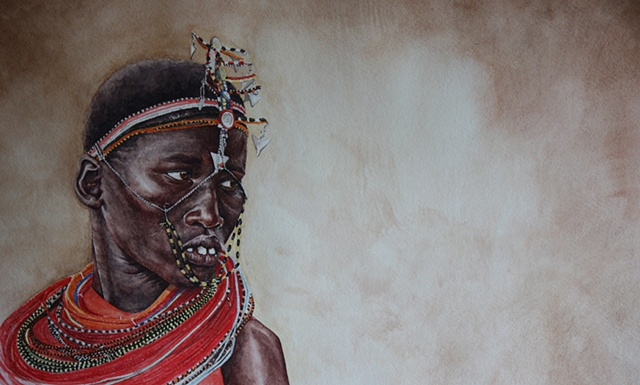 Masaai girl, watercolor painting