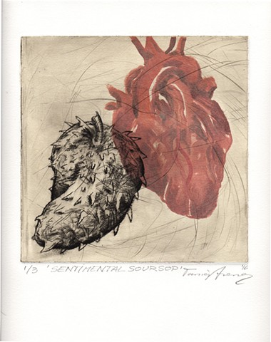 Heart and fruit etching chine colle monotype printmaking