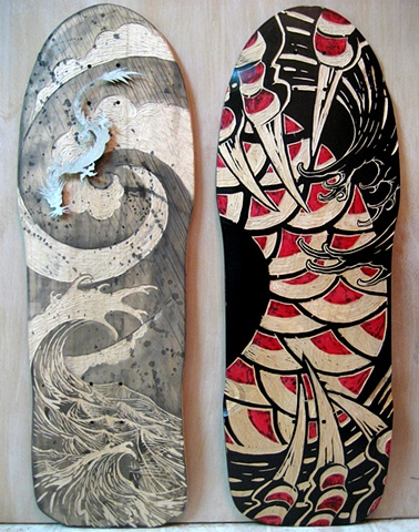 skate decks white & black