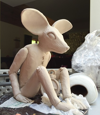 One of my early themes, the mouse marionette in porcelain.