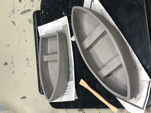 Making more boats for clay figures.