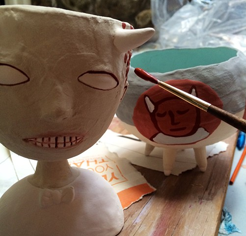 Glazing fun vessels.