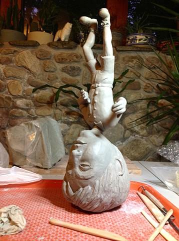 In progress pillow head sculpture of my husband