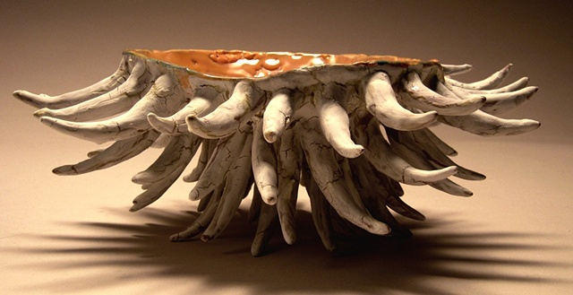 Thorny Vessel with crawling interior glaze.