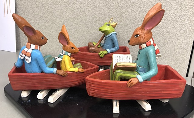 Just painted and applied a satin sealant to these whimsical boat sculptures.