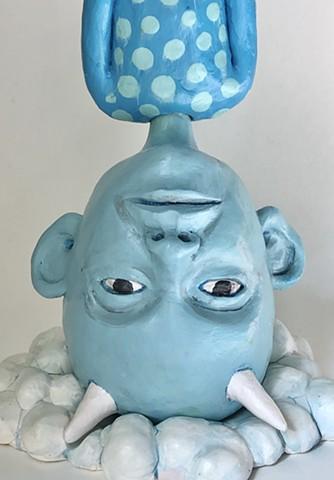 """Cloud boy.  Ceramic, polymer clay, and acrylic16 x 6 x 5"""""""