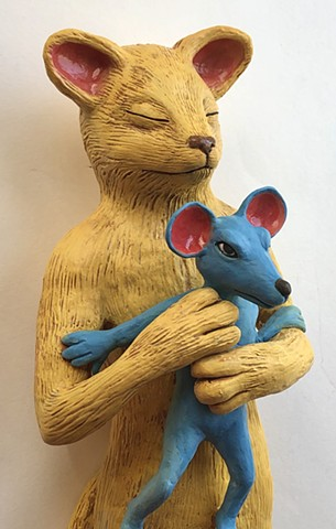 Cat and mouse (detail). Paper clay wall art.