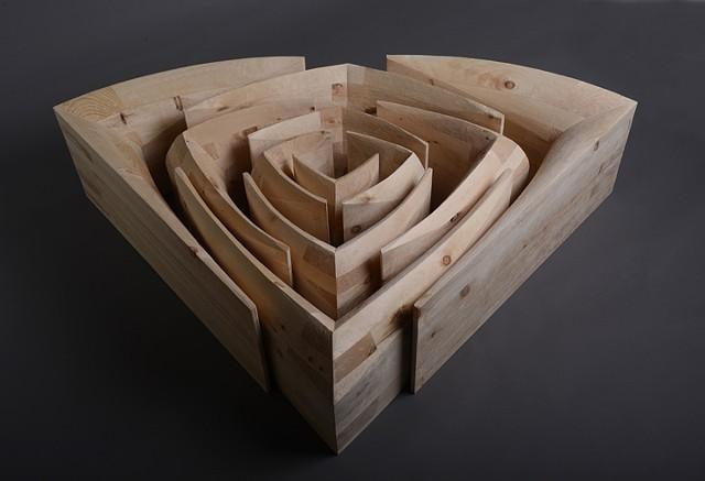 wood sculpture, pine, maze