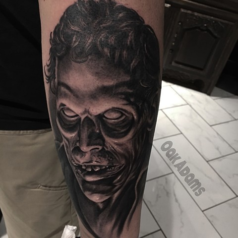 bio organic black and grey tattoo oak adams painted temple salt lake city slc evil dead ash bruce campbell
