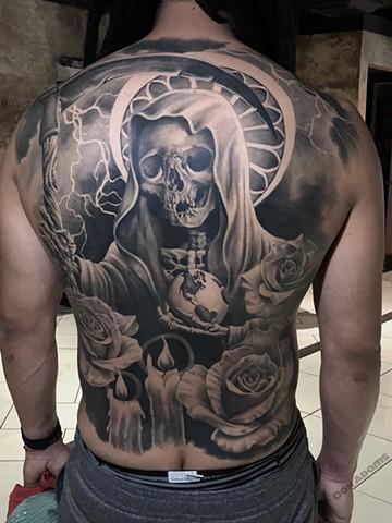 bio organic black and grey tattoo oak adams painted temple salt lake city slc skull santa muerte