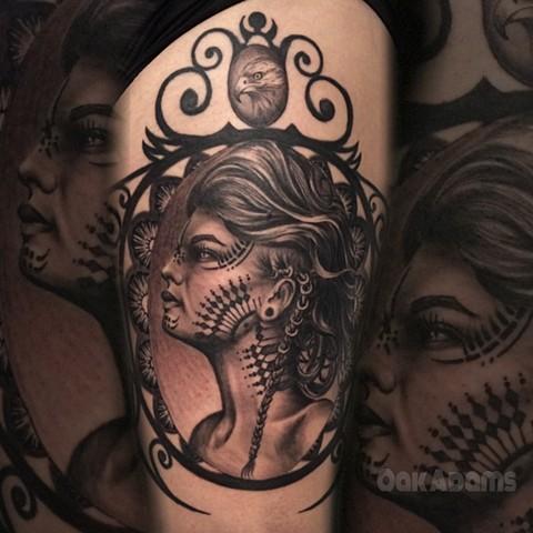 bio organic black and grey tattoo oak adams painted temple salt lake city slc girl