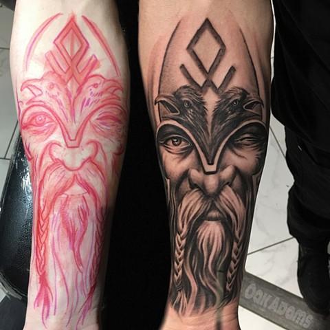 black and grey tattoo oak adams painted temple salt lake city slc norse viking odin freehand