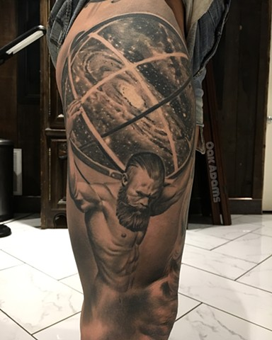 black and grey tattoo oak adams painted temple salt lake city slc atlas shrugged portrait